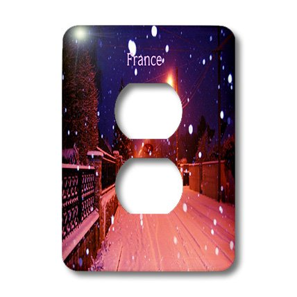Lsp_200426_6 Florene - France - Print Of Snowy Street In France Lit By Sodium Lights - Light Switch Covers - 2 Plug Outlet Cover
