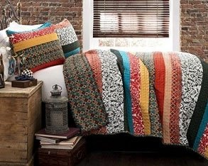 Review Lush Decor Boho Stripe 3-Piece Quilt Set, Full/Queen, Turquoise/Tangerine
