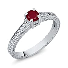 buy 0.43 Ct Round Red Ruby 18K White Gold Engagement Ring