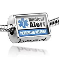 "Neonblond Beads Medical Alert Blue ""Allergic to Penicillin"" - Fits Pandora Charm Bracelet by NEONBLOND Jewelry & Accessories"