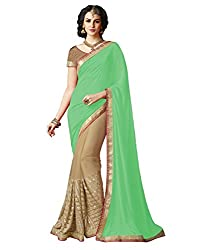 Exclusive Light Green And Beige Colored Lycra And Chiffon Material Sequence Work Saree With Fancy Blouse