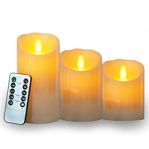 Vokul 蝋燭 キャンドルライト 防水 タイマーリモコン付き 電池式3点セ...