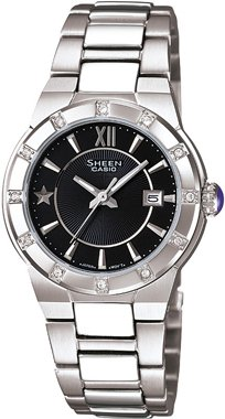 Casio Women's SHE4500D-1A Silver Stainless-Steel Quartz Watch with Black Dial