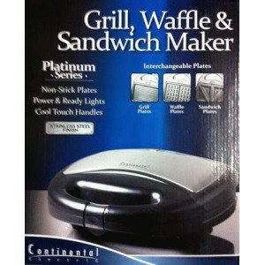 Continental Electric CP43569 Platinum Series 3-in-1 Grill, Waffle and Sandwich Maker