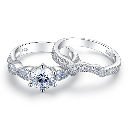 Sterling Silver 6 Prongs Solitaire Bridal Engagement Wedding Ring Set