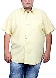 Xmex Men's Cotton Silk Regular Fit Shirt (KR-257YELLOW_4XL, Biege, 4X-Large)