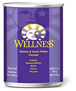 Wellness Canned Dog Food for Adult Dogs, Chicken and Sweet Potato Recipe, 12-Pack of 12-1/2-Ounce Cans