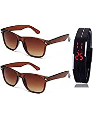 BROWN WAYFARER SUNGLASSES AND WAYFARER BROWN SUNGLASSES WITH TPU BAND RED LED DIGITAL BLACK DIAL UNISEX WATCH
