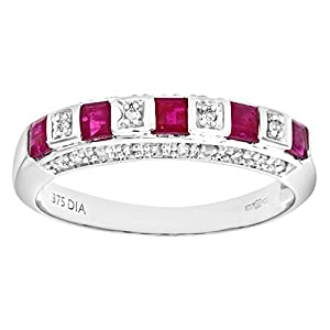 Ariel Women's 9ct White Gold Diamond and Ruby Eternity Ring