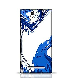 Stylebaby Cases and Covers Designer Hand Drawn Marbling Illustration Blue Back Cover for Sony Xperia C3 New Multicolor