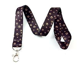 Brown Paw Print Lanyard Key Chain Id Badge Holders