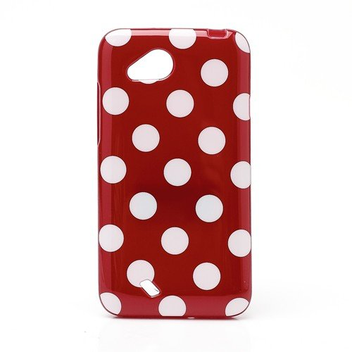 Jujeo Polka Dots Soft Candy Tpu Gel Case For Htc Desire Vc T328D - White/Red - Non-Retail Packaging