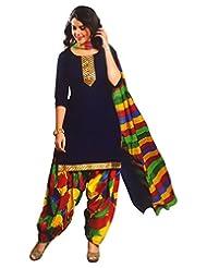 Namaskaar India Alluring Blue & Red Printed Salwar Suit Dupatta Material For Women