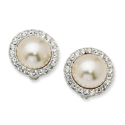 Simulated 15mm Mabe Pearl & Swarovski Crystal Clip Earrings. Lovely Gift Box, Certificate of Authenticity, and Romance Card Included