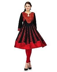 Cenizas Women Chiffon Dress Material Dress Material (Gold2001 _Red _Free Size)