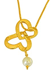Surat Diamonds Double Heart Shaped Gold Plated And Shell Pearl Pendant With Chain For Girls (SDS264)
