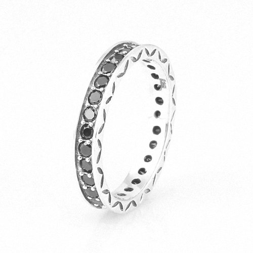 Taotaohas-(1Pc) Oxidized Antique 100% Solid Sterling 925 Silver Ring, [ Name: Floral Elegance, Uk Size: L 1/2, Us Size 6, Eu Size 52, Stone Color: Jet Black ], Made With Swarovski Elements Crystal Czech Rhinestone, Fit European Bracelets Necklaces Chains,