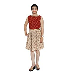 Gamthi Dress - Red - Cream Mix Match boat neck
