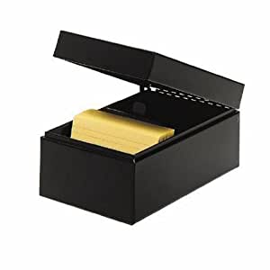 STEELMASTER Steel Card File Box, Fits 3 x 5 Index Cards, 900 Card Capacity, 5.5 x 4 x 8.5 Inches, Black (263835BLA)