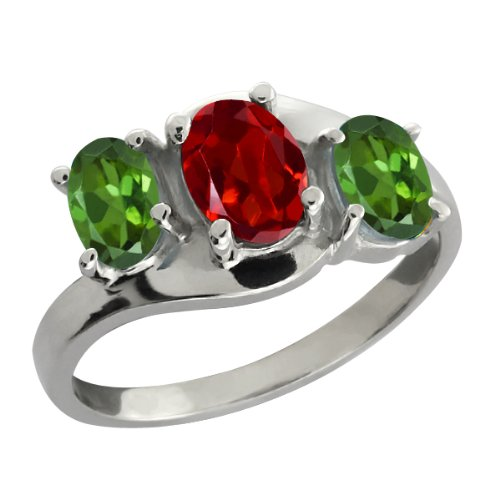 1.70 Ct Oval Red Garnet and Green Tourmaline 14k White Gold Ring