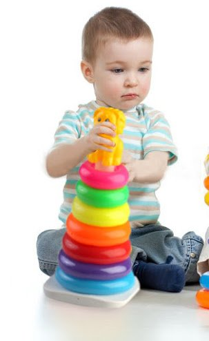 PIGLOO Toddler's 7 Colorful Stacking Rings Toy with Lion Top Pole for Ages 1+ Years