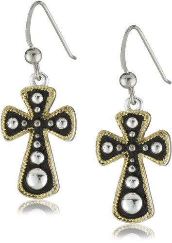 Western Edge Cross with Beads Earrings