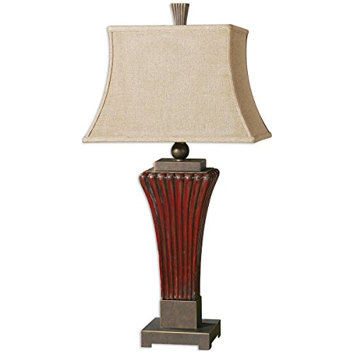 Uttermost 26465 Rosso Ribbed Ceramic Lamp