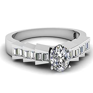 Channel Set 0.90 Ct Oval Shaped Diamond Delightful Engagement Ring VVS2 14K GIA