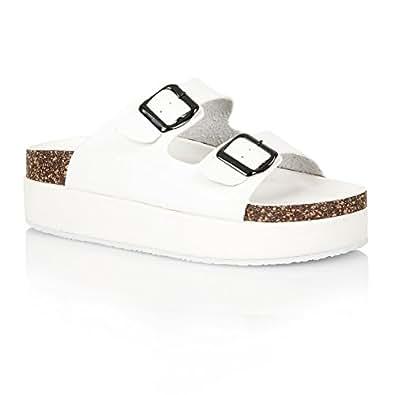 damen slipper sandalen mit korksohle plateau bequem schuhe handtaschen. Black Bedroom Furniture Sets. Home Design Ideas