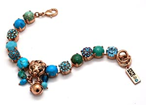 Amaro Jewelry Studio 24K Rose Gold Plated Charms Bracelet from 'Ocean' Collection Enhanced with Howlite Chinese Turquoise, Howlite Blue, African Turquoise, Cat's Eye and Swarovski Crystals; 6.3 inches