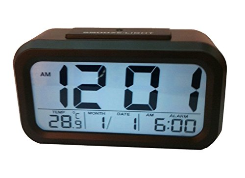 Bekith Digital Alarm Clock with Large 2 Display - With Snooze Function, Calendar, Date, Week, Month And Temperature Display Black
