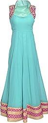 Adwitya Designer Studio Girls Full Dress (skybluegown_XXL, Skyblue, XXL)