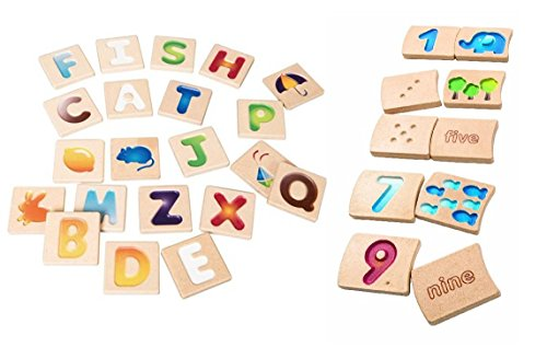 Planwood Alphabet and Number Tile Set (Plan Toys Numbers compare prices)