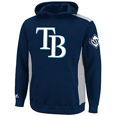 MLB Tampa Bay Rays Lil Catcher Athletic Navy/Steel Heather Long Sleeve Hooded Youth Fleece Pullover