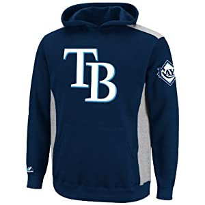 MLB Youth Tampa Bay Rays Lil Catcher Athletic Navy/Steel Heather Long Sleeve Hooded Fleece Pullover By Majestic (Athletic Navy/Steel Heather, Large)