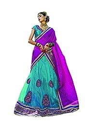 DesiButik's Wedding Wear Magnificent Firozi Net Lehenga