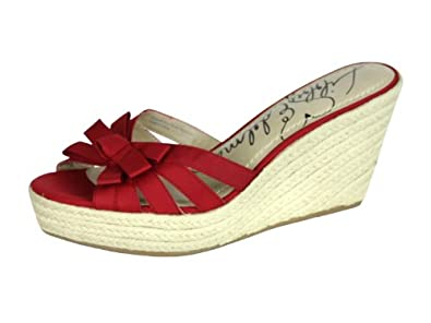 Libby Edelman Womens Vixon Red Ribbon Espadrille Wedge SandaLS 9.5