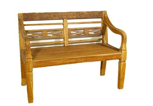 DIVERO 2-Sitzer antike Gartenbank 115 cm massiv Teak-Holz Handarbeit 2 Personen Bank mit Schnitzereien (natur)
