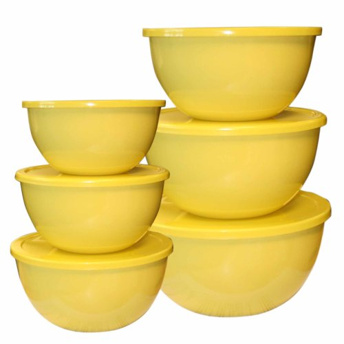Calypso Basics, 44201, 12 Piece Enamel On Steel Bowl Set With Lids, Lemon