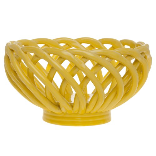 Signature Housewares Bread Basket, 8-Inch, Yellow (Ceramic Bread Bowl compare prices)