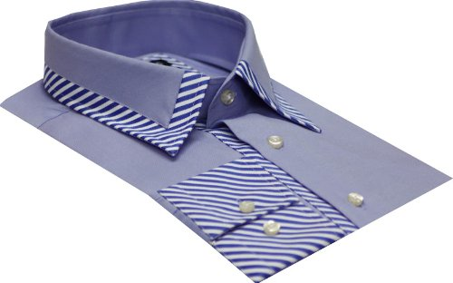 Italian Design Men's Formal Casual Shirts Designed Collar Blue Colour Slim Fit
