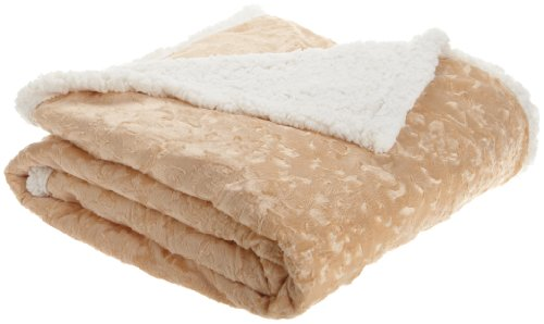 Northpoint Embossed Brocade Micro-Mink To Micro-Sherpa Throw, Ivory front-894755