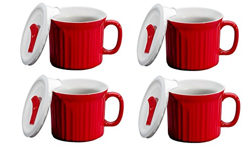 CorningWare Pop in mug, 4 mugs with vented plastic covers (Bake, Microwave) 20 oz/591ml (Tomato RED) (Microwave Vented Cover compare prices)