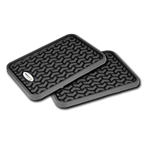 All-Terrain Floor Liner Rear Pair Custom Fit 2nd-Row Black GMT-900 With TreadLightly Logo For 2007-12 Chevy Silverado 1500 Extended Cab