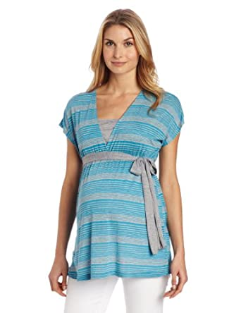 Three Seasons Maternity Women's Maternity and Nursing Side Tie Stripe Shirt, Turquoise/Heather Grey, X-Large