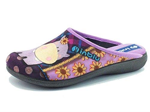 Pantofole InBlu per donna in tessuto glicine con ippopotamo fantasia (Taglia 38)