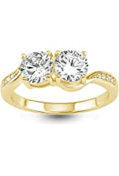 """Sterling Silver Gold-Plated Two-Stone """"By your side"""" CZ Engagement Ring"""
