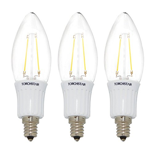 Set Of 3 110V 3W E12 Clear Led Filament Bulbs - 2700K Warm White 40W Equivalent Led Filament Light Bulb - E12 Candelabra Base - 300Lm 360 Degree Beam Angle