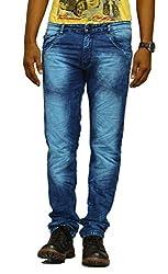 Jugend Blue Discharged Stretchable Slim Fit Jeans For Men