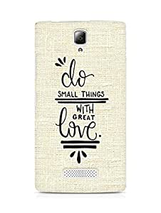 AMEZ do great things with love Back Cover For Lenovo A2010